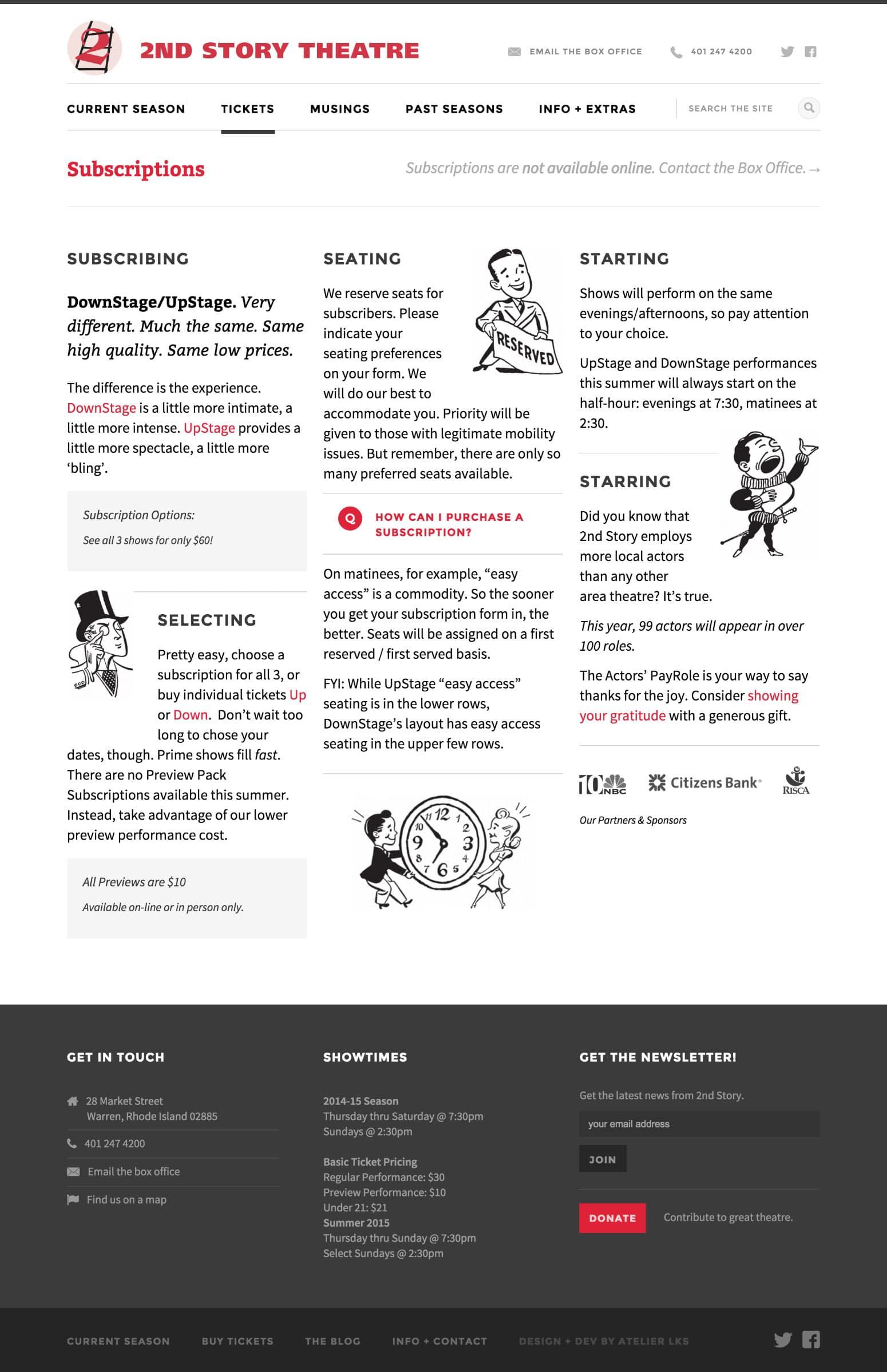 custom web development for 2nd Story Theatre