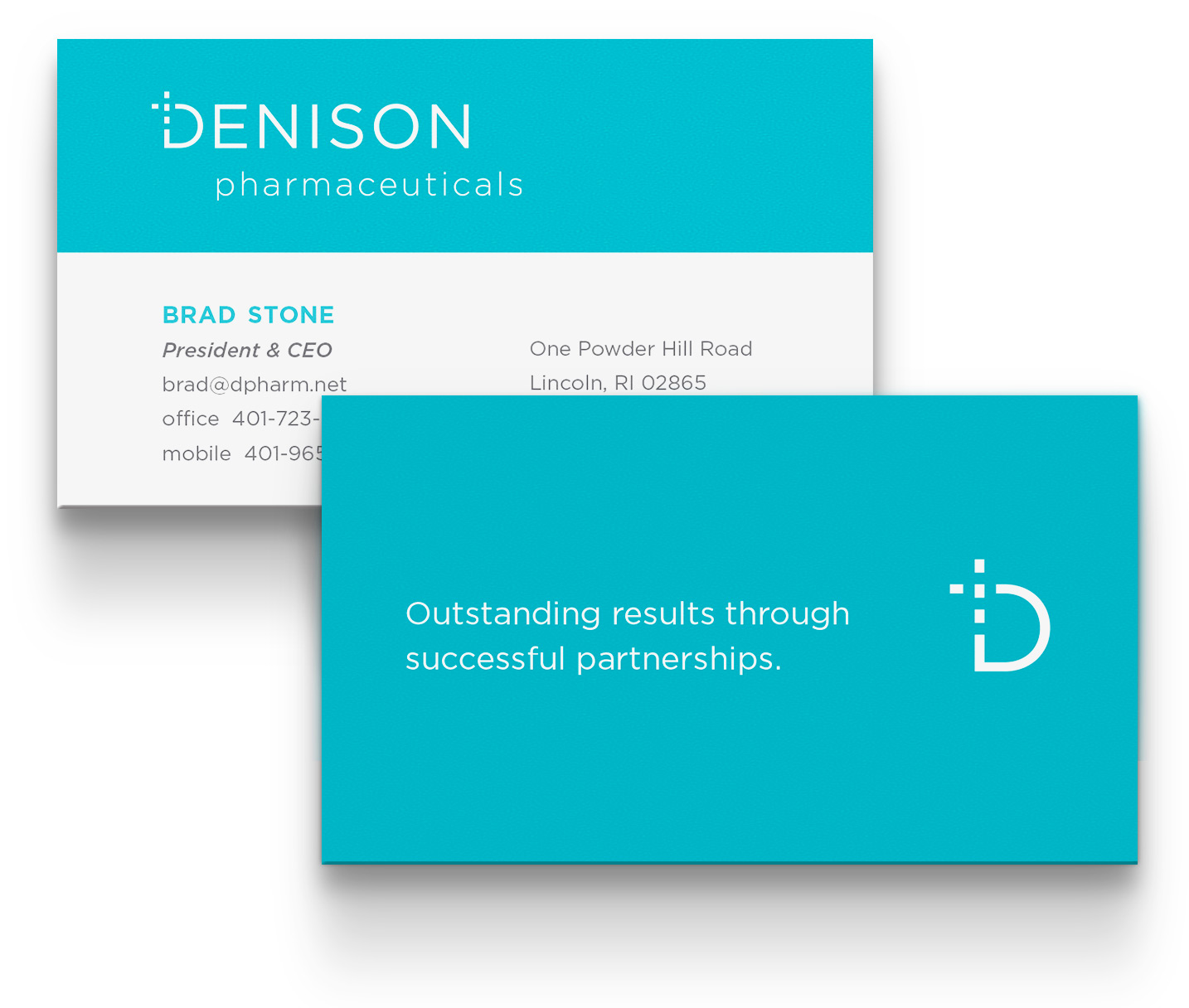 business card design: Denison Pharmaceuticals, Lincoln, RI