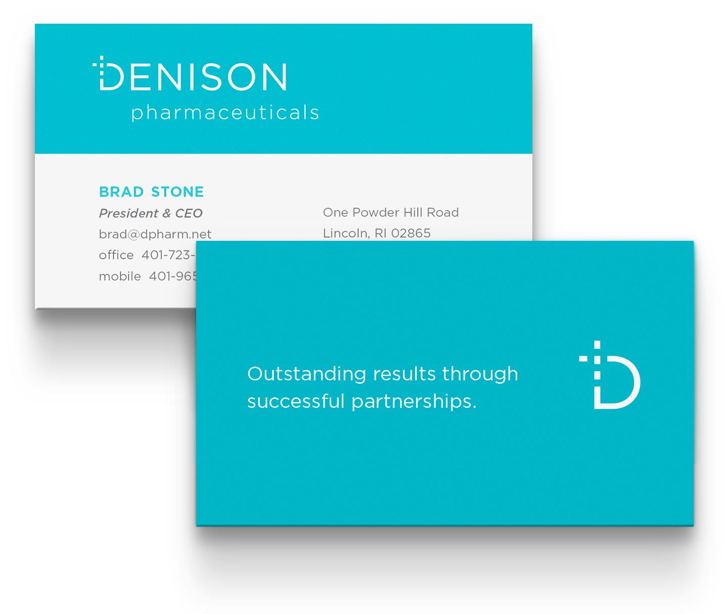 business card design: Denison Pharmaceuticals, Lincoln, RI