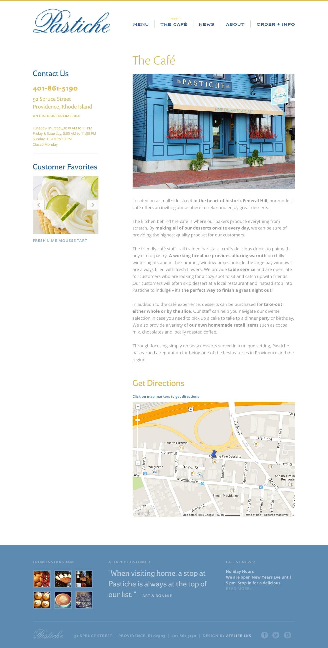 web design for cafe in Rhode Island