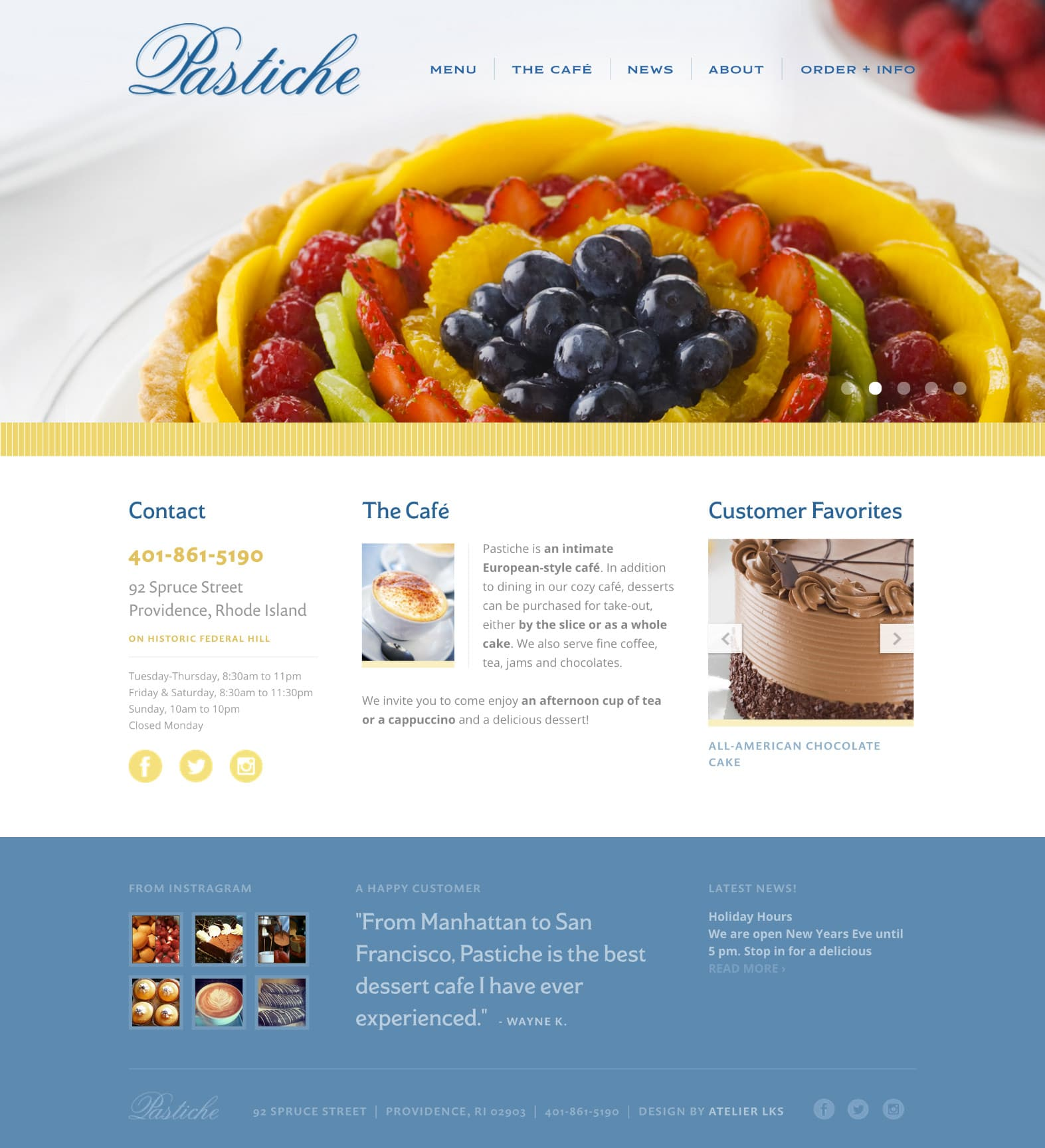 website design for coffee shop in Providence