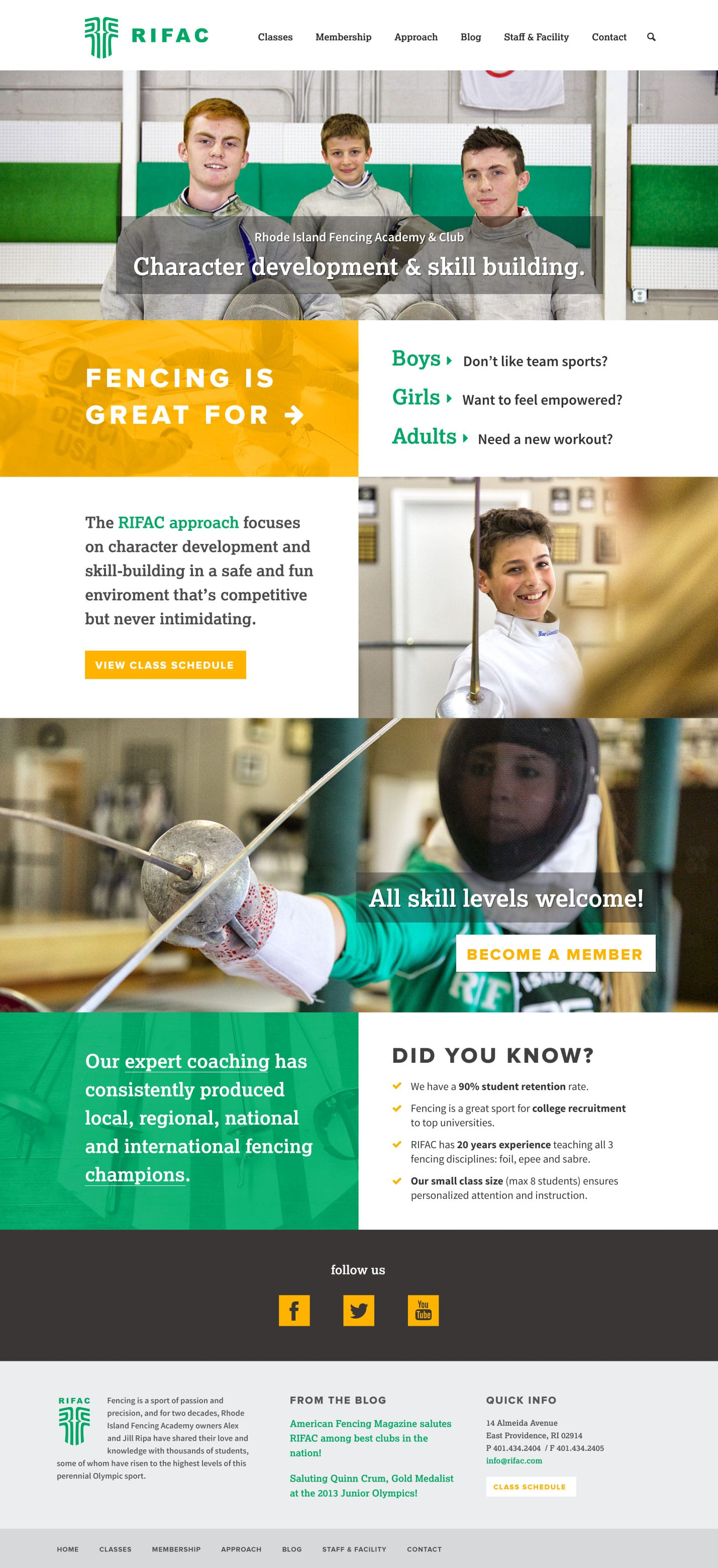 web design: Rhode Island Fencing Academy