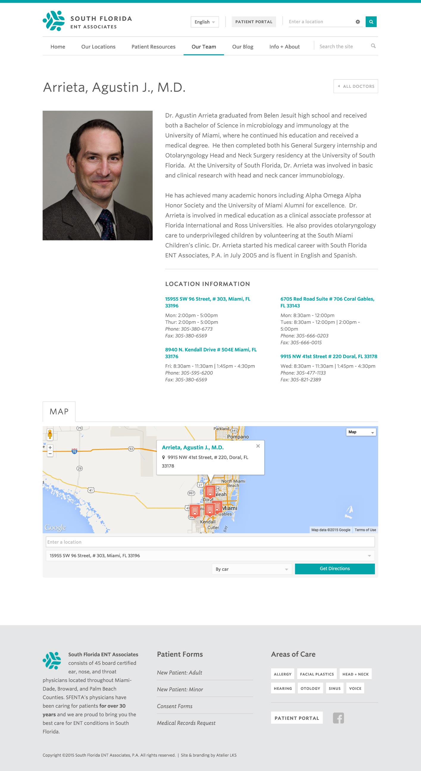 web design and development: South Florida ENT Associates