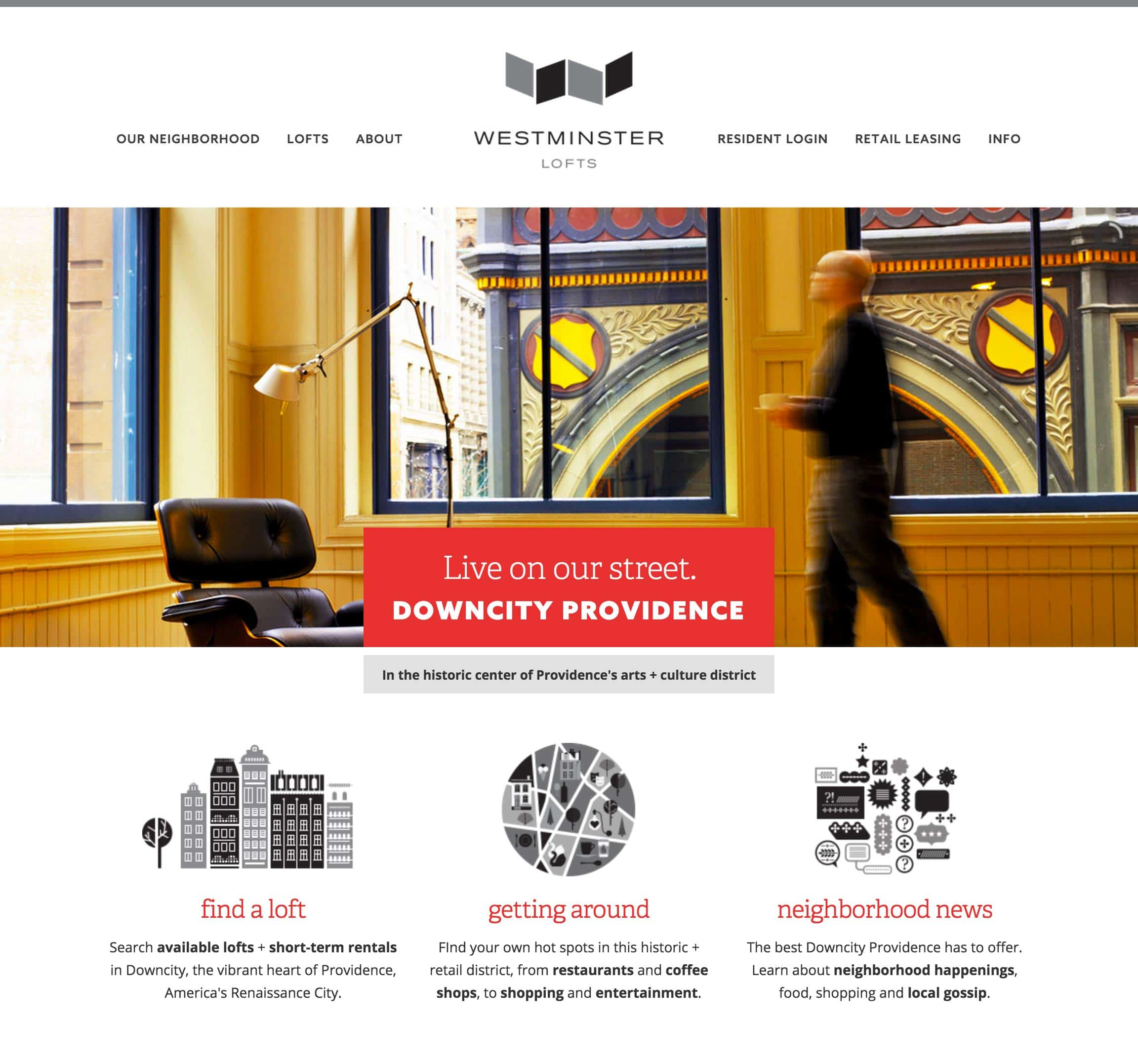 mobile web design and development for loft and flat real estate in Providence, RI