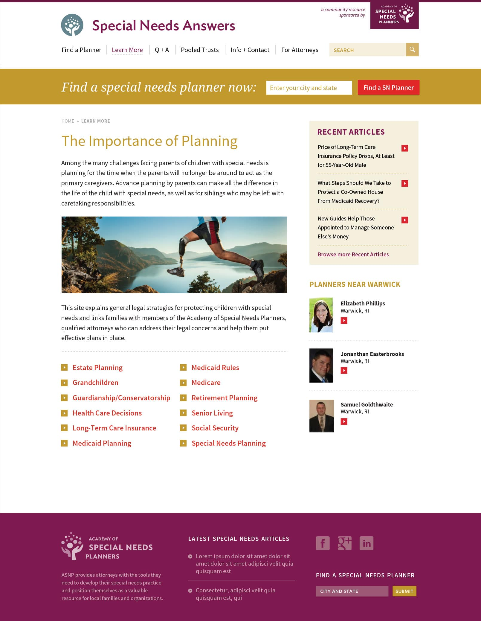 web design for Providence special needs client