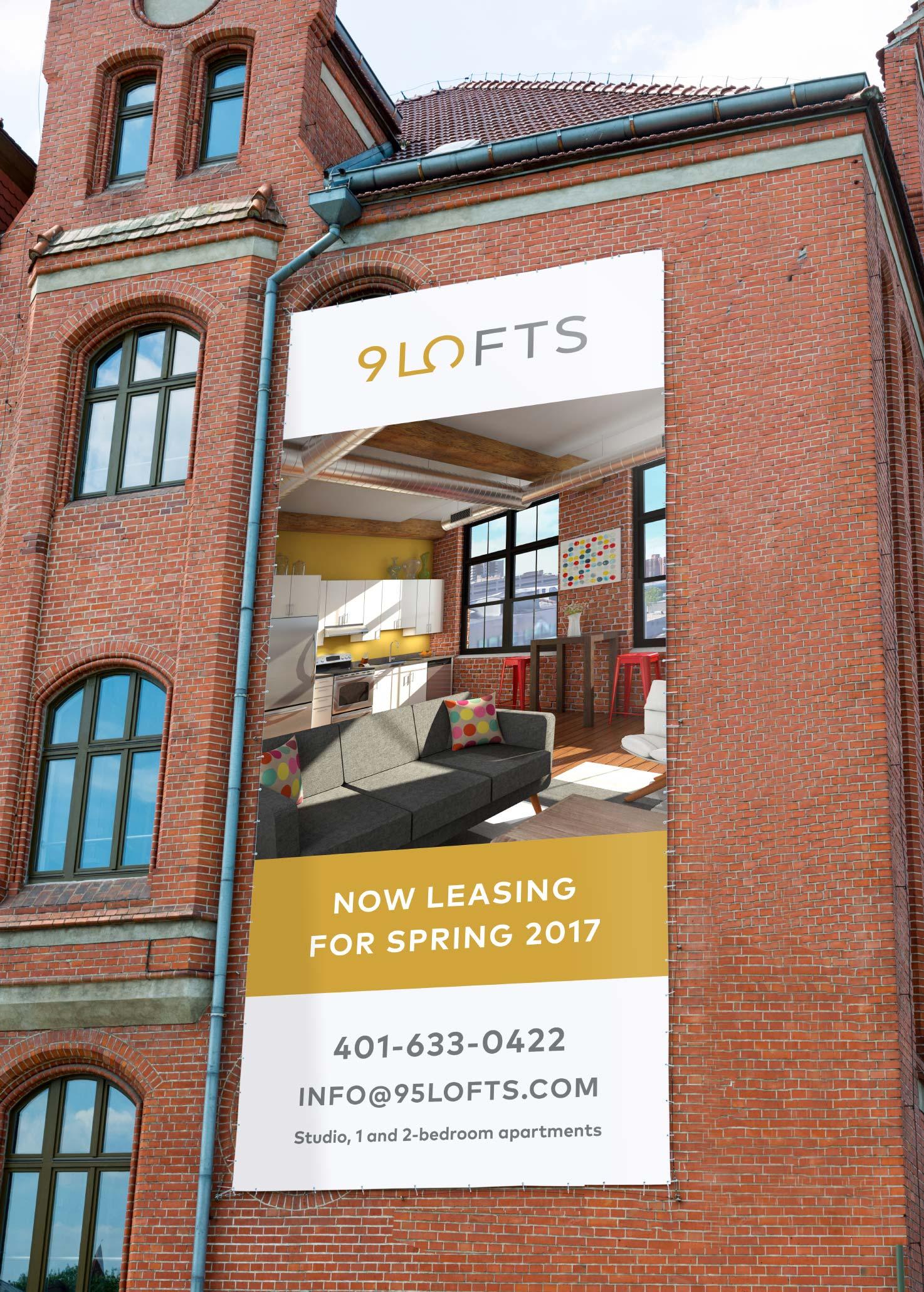 95 Lofts outdoor vinyl signage