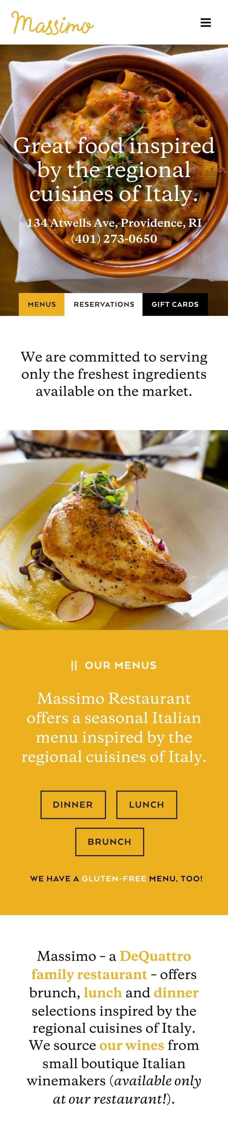 Responsive mobile Rhode Island restaurant web design
