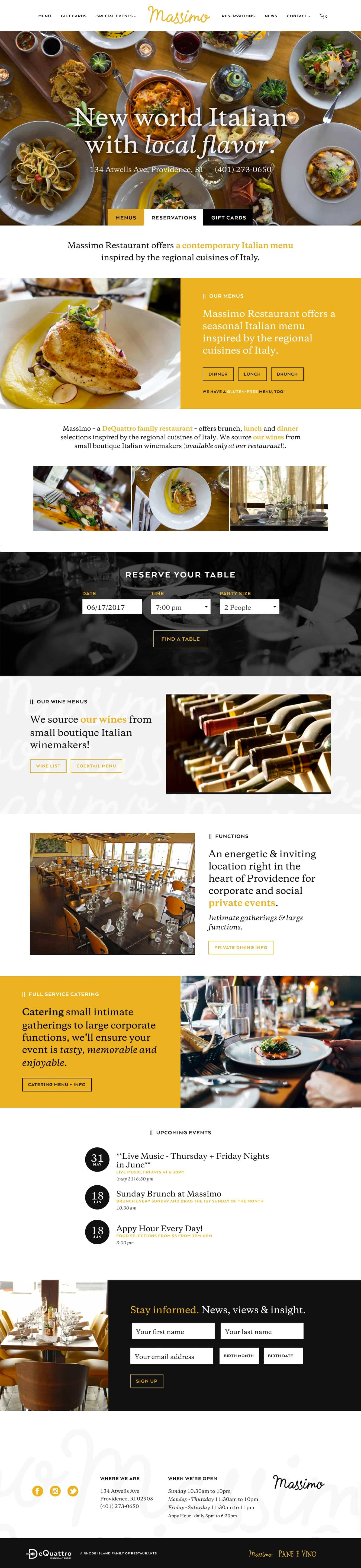 RI Italian restaurant website design and development