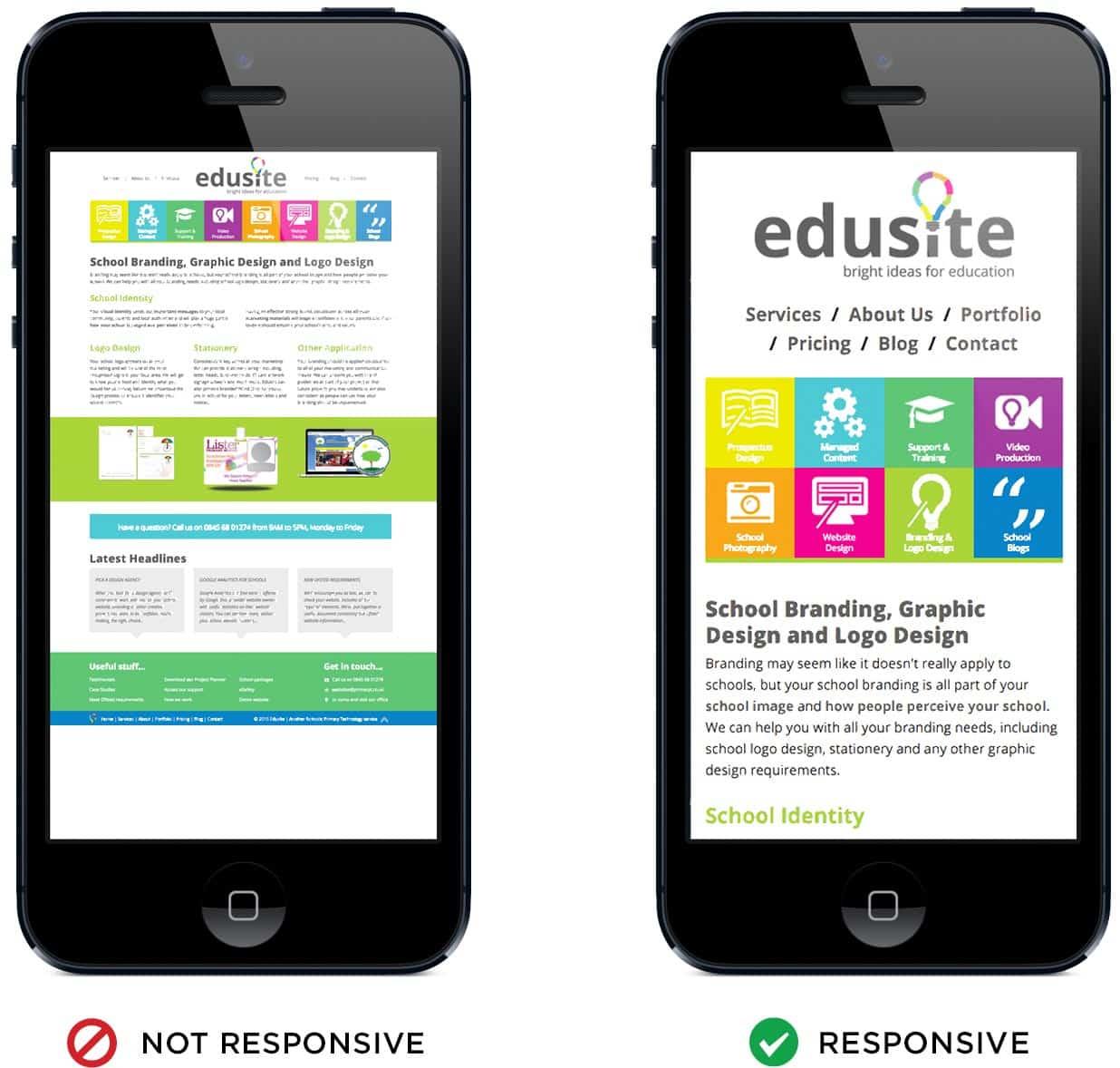 Mobile web responsive example