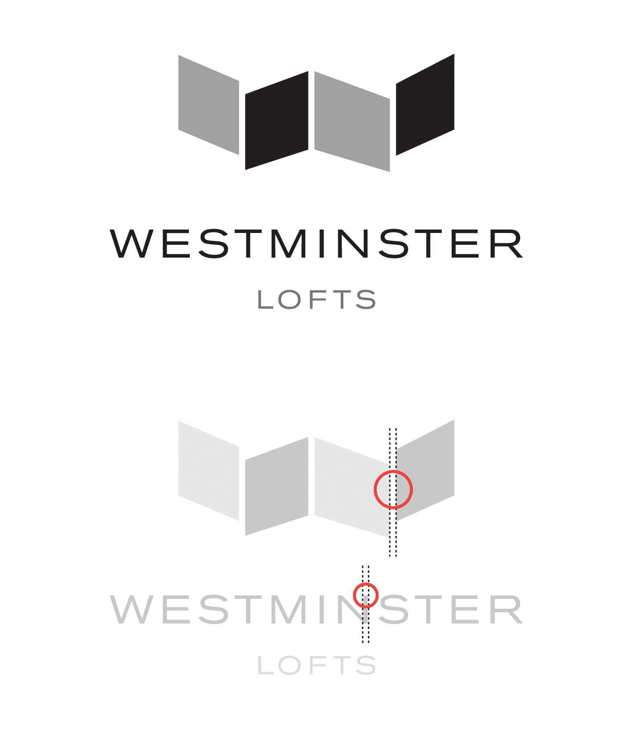 Matching the font to the negative space in the logo icon of Westminster Lofts