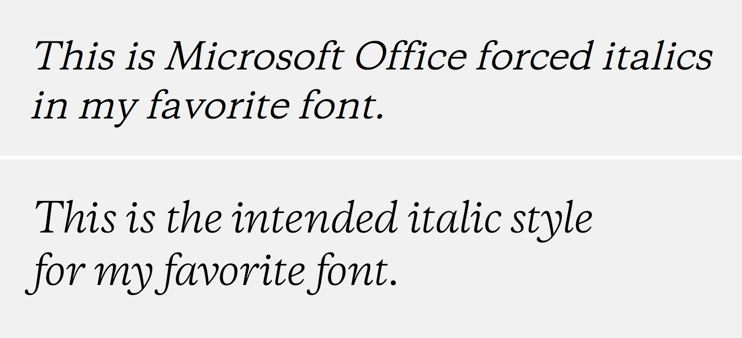 Example of Microsoft Office forced italics vs the way the type designer intended