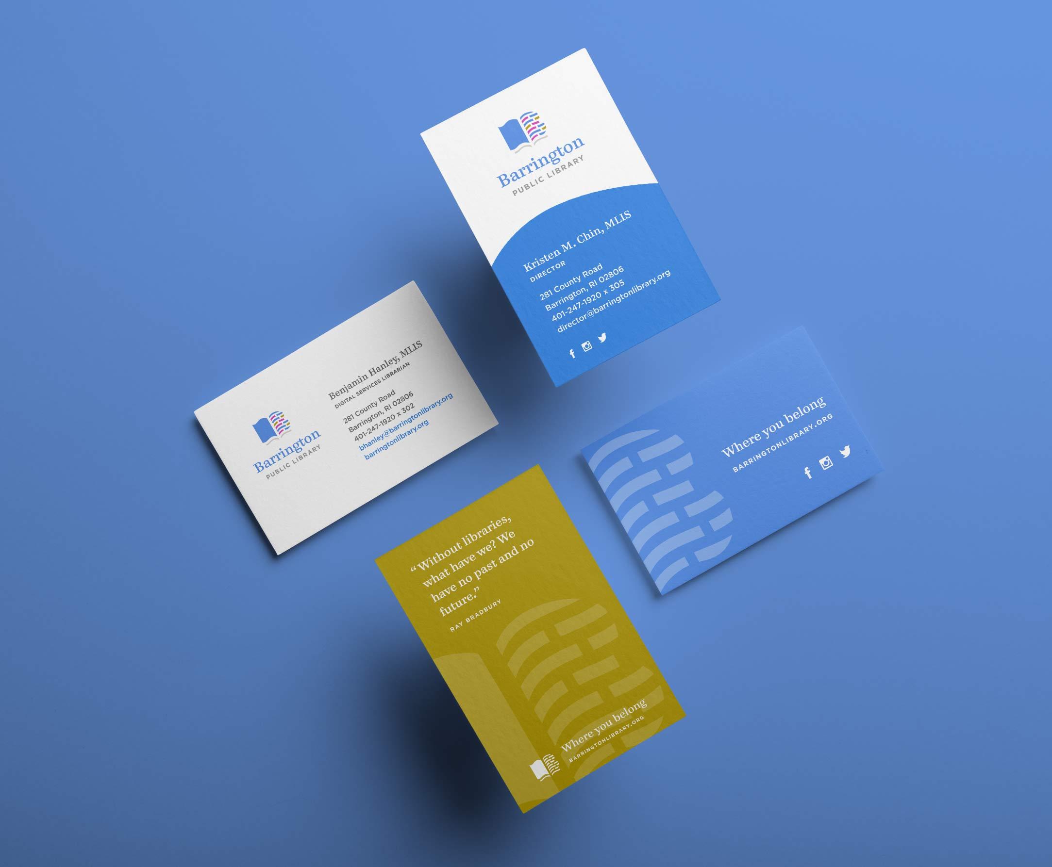 Barrington Public Library business card design