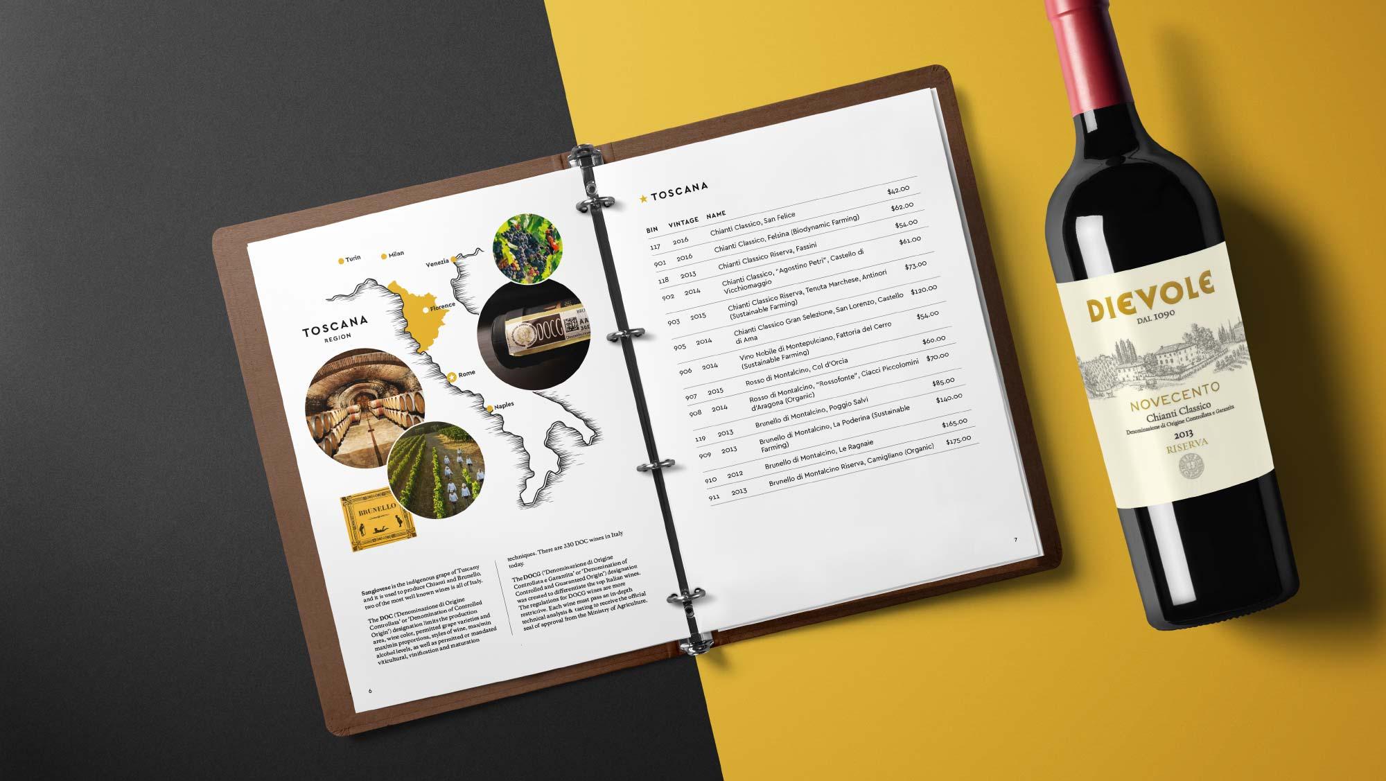wine book menu design for restaurants in Rhode Island