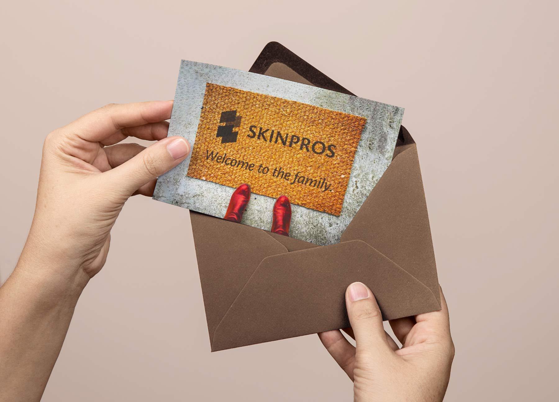 SkinPros patient welcome postcard design