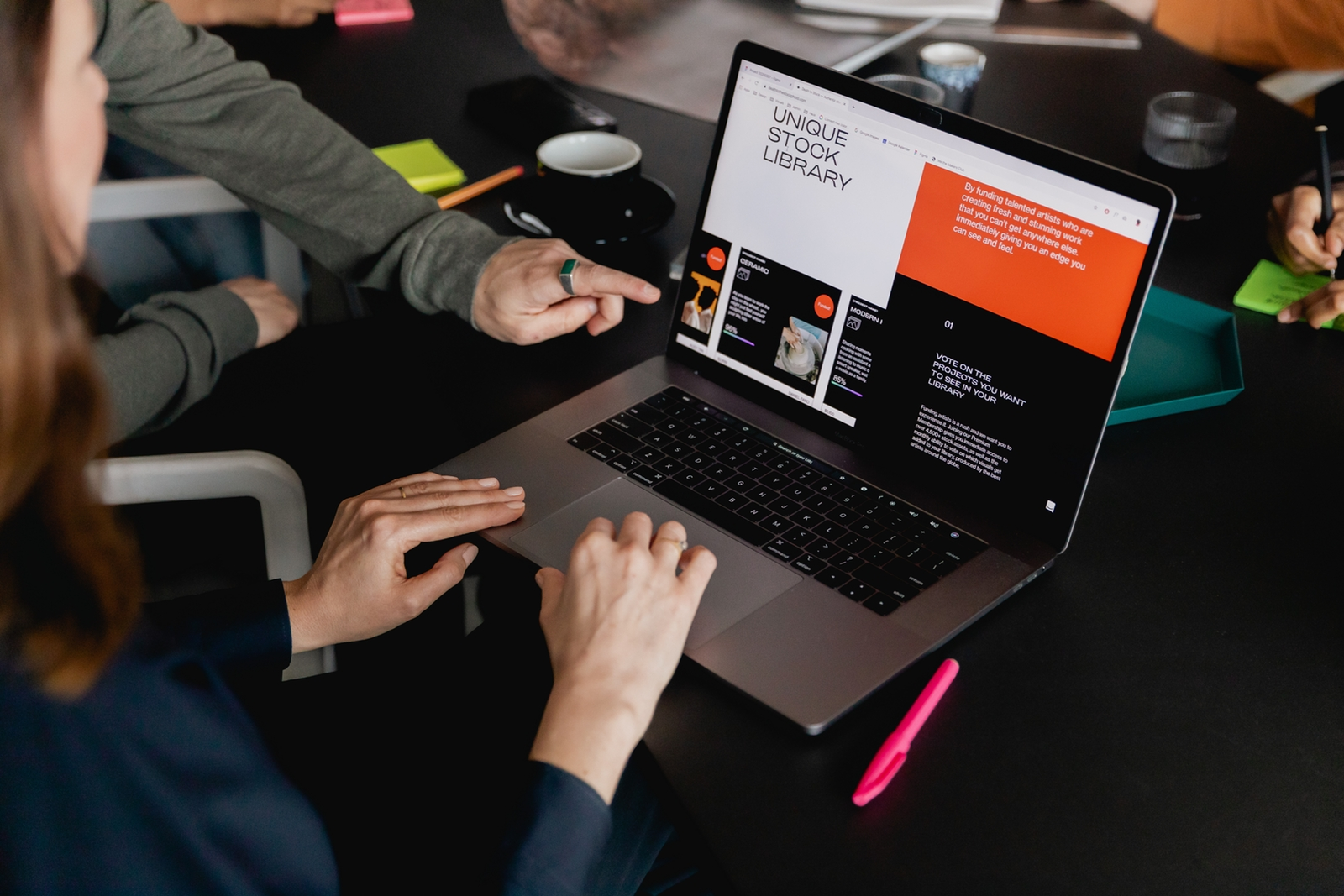 woman designer working on website