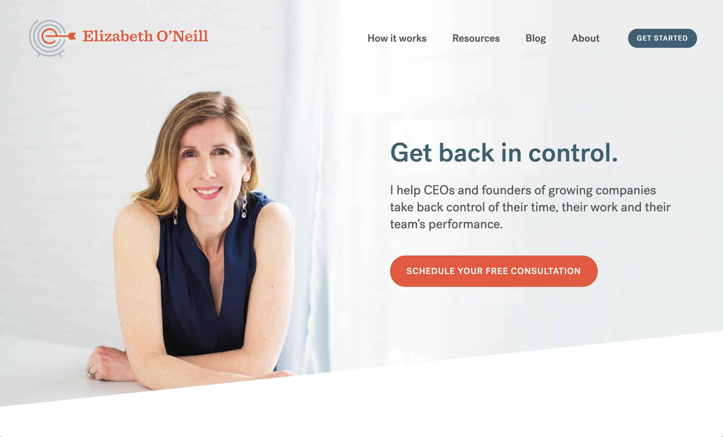 Elizabeth O'Neill homepage above the fold