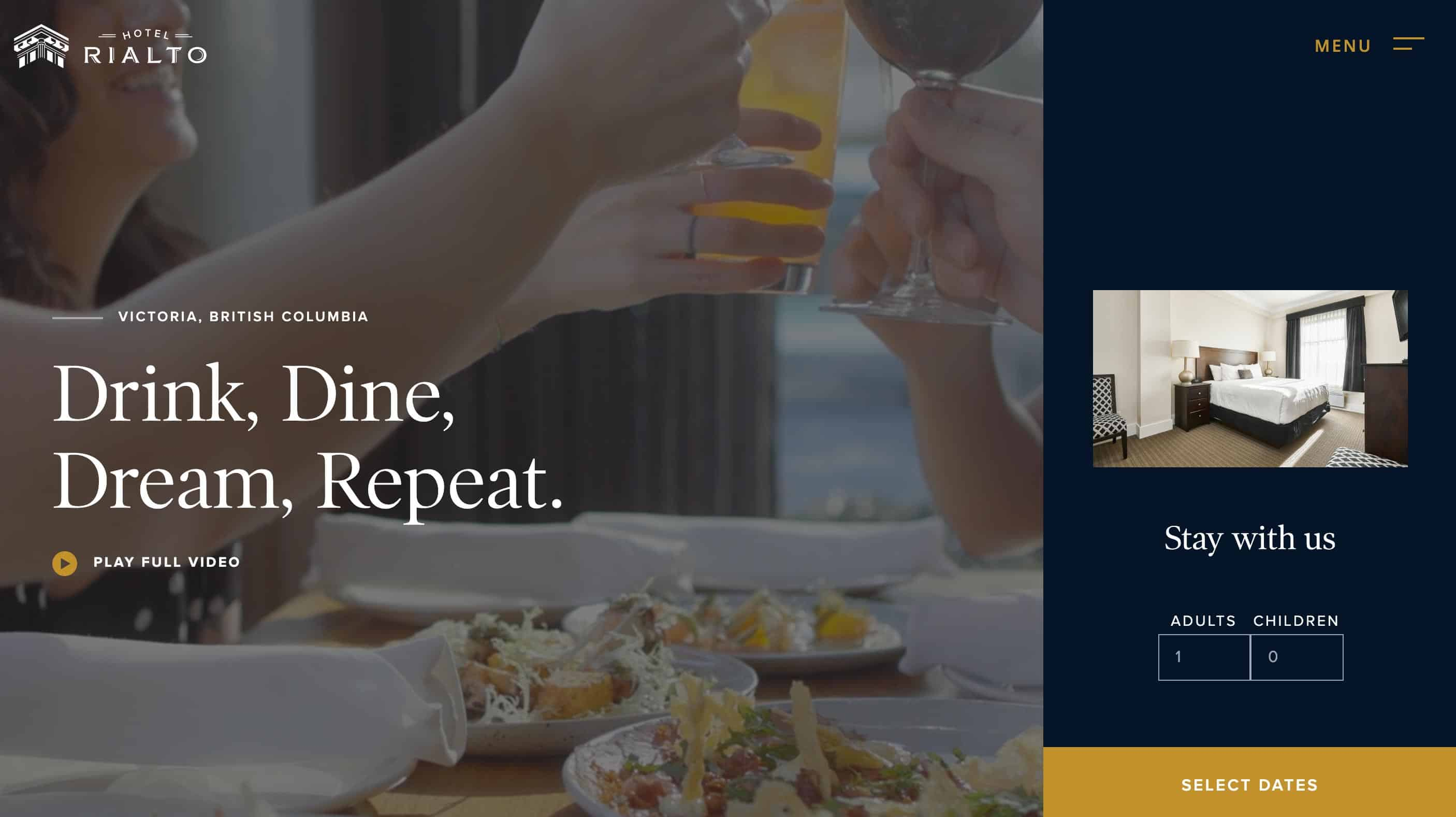 Rialto Hotel homepage above the fold