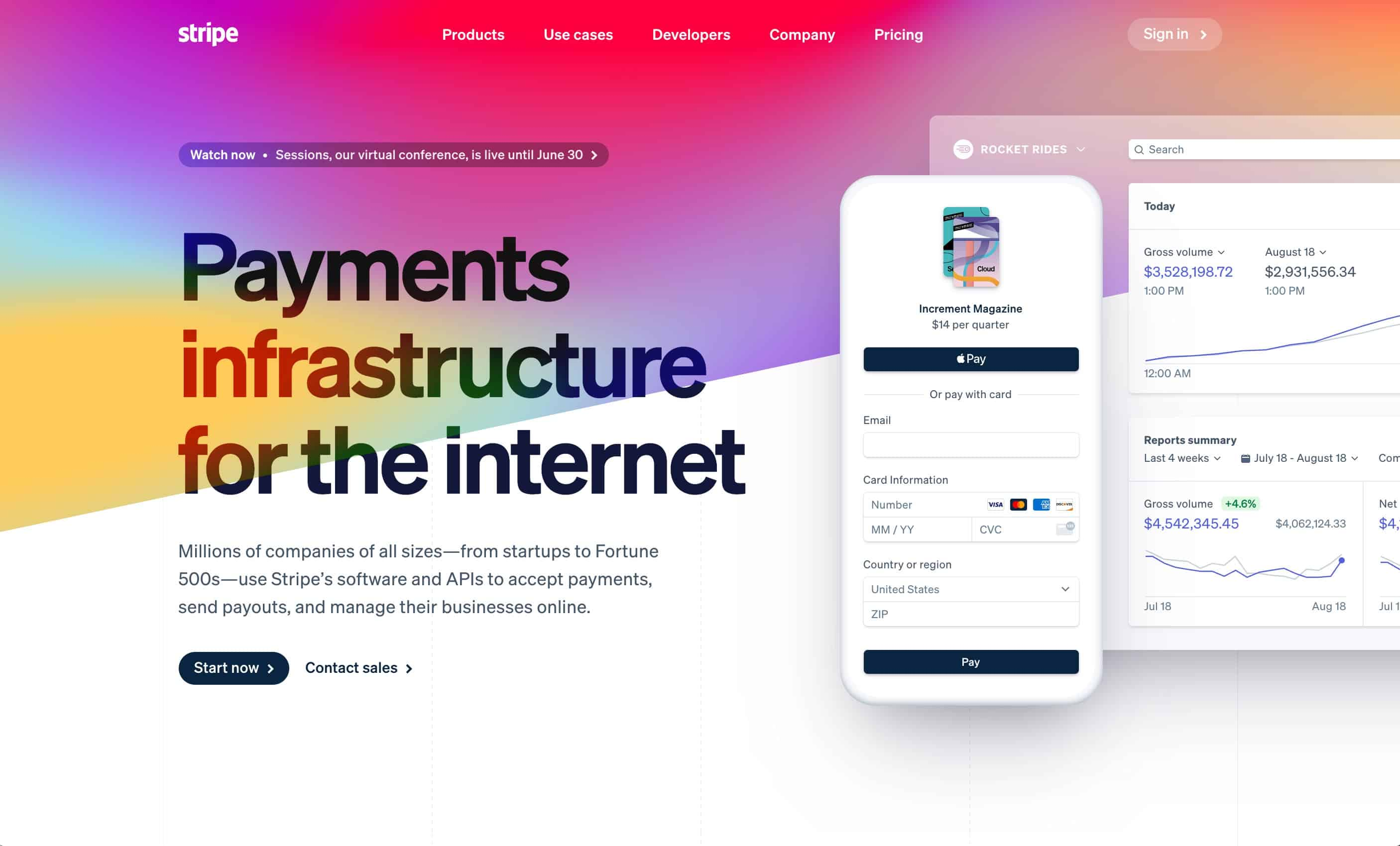Stripe homepage above the fold