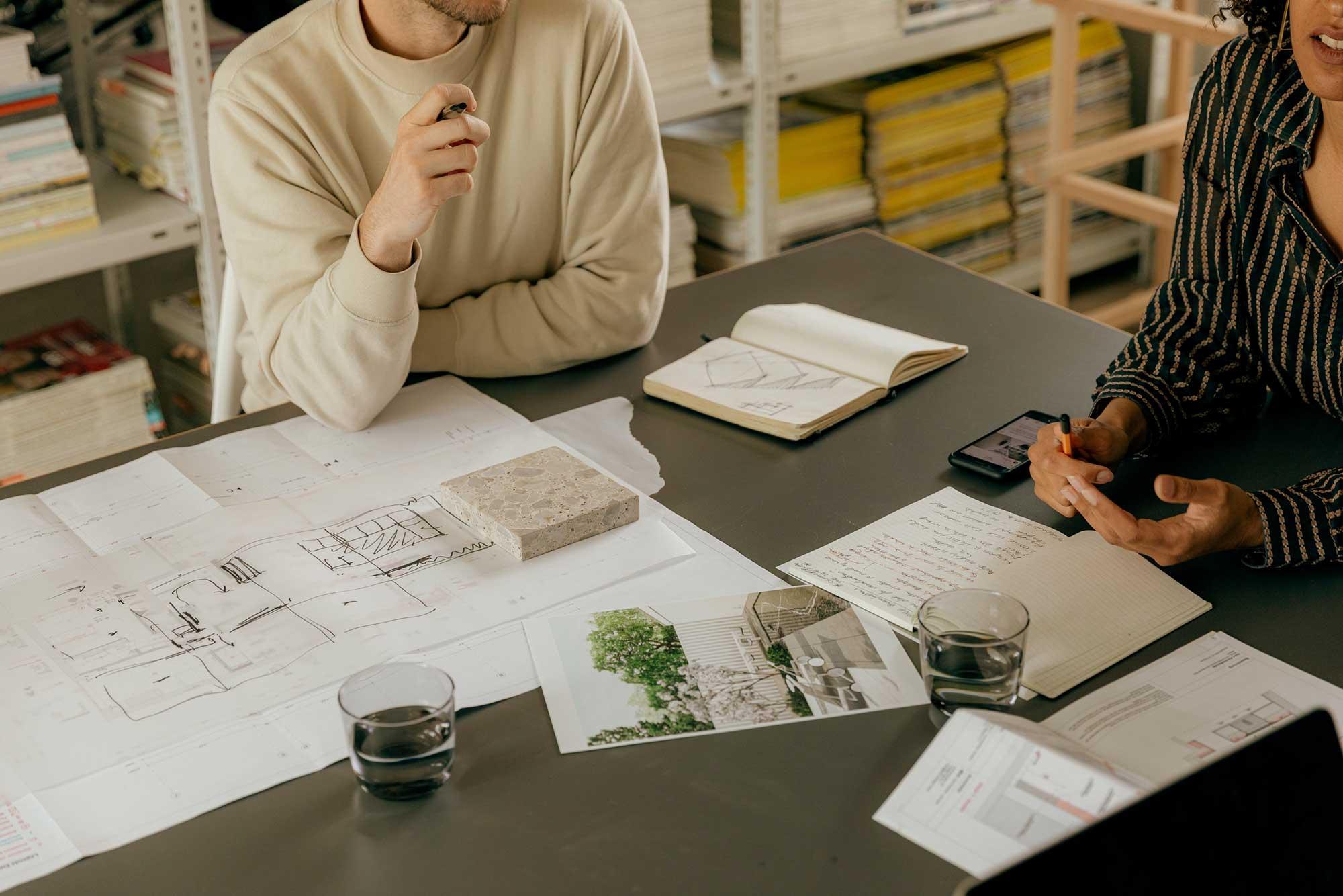 Marketing team discussing design