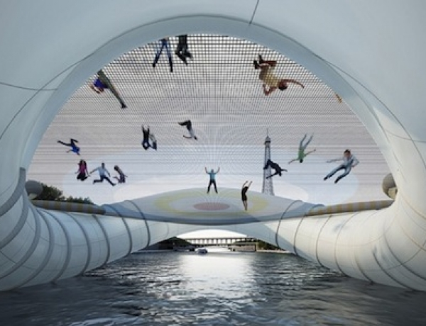 In Paris, An Inflatable Trampoline Bridge